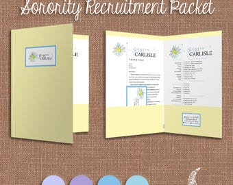 Digital Sorority Recruitment Packet | Social Resume, Cover, Business Card,  Labels