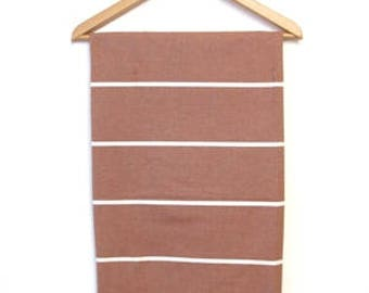 Turkish bath cloth ochre with white stripe