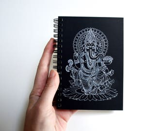 Journal diary bullet journal notebook sketchbook oriental  decor minimal painting  black paper notebook Indian painting Ganesh art
