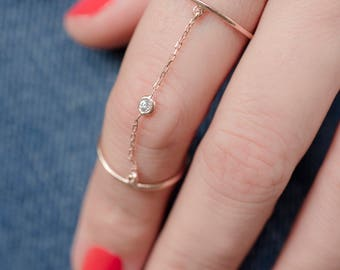 Birthstone Midi Ring | Linked Double Ring | Chained Rings | Dainty Slave Ring | Double Finger Ring | Gift For Her | Birthday Gift