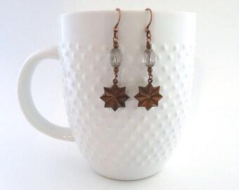 Copper Earrings - Vintage Earrings - Star Earrings - Star - Starburst - Beaded Earrings - Dangle Earrings - Unique Earrings - Gift for Her