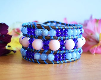 Cuff Bracelet, Leather Bracelet, Leather Beaded Bracelet, Triple Row Bracelet, Wrap Bracelet, Leather Jewelry, Boho Bracelet, One Of a Kind