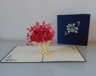 Red Flowers in Urn Pop up Card