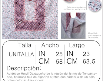 AUTHENTIC HUIPIL OAXACAN cotton stretch stamped with chain