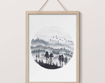 Hand Painted Watercolor Digital Print, Misty Mountains, Blue and Black