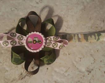 John Deere Pink and Camo Ribbon Elastic Headband
