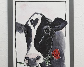 Hand-painted greeting card cow