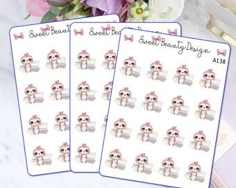 Cute Sloth Planner Sticker, Sloth Bill Reminder Planner Stickers, Sloth Bill Due Sticker, Payment Due,Planner Accessories, Scrapbook Sticker