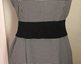Classy & Chic Vintage Mod 1960s Man Men Style Sleeveless V-Neck Black White Check Dress Size Small