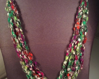 """Ladder Ribbon Necklace Festival Flair 6 Stands Adjustable 16 """" Inches"""