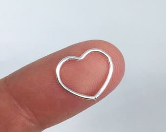 Sterling Silver 13mm Heart Charm Connector, 925 Sterling Silver Heart Pendant