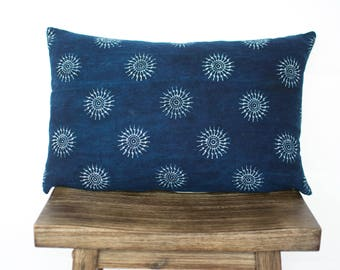 Indigo Sun Lumbar / Indigo Pillow/ Hemp Pillow Cover/ Authentic Indigo/ Handmade/ Vintage/ Bohemian Modern Pillow/ Lumbar Pillow