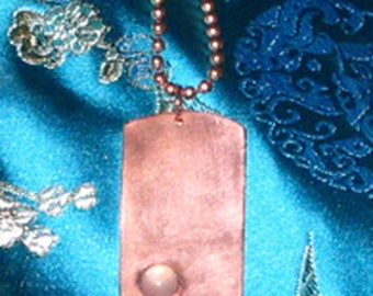 Copper Dogtag Necklace with Moonstone