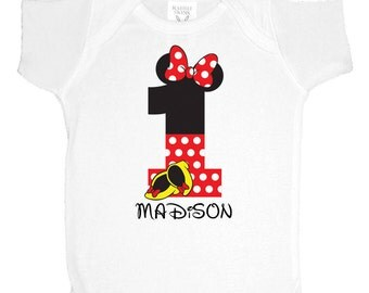 Minnie 1st Birthday Onsie Onesie Red - Minnie 2nd Birthday Onsie - Personalized Minnie Mouse First Birthday Shirt - Custom Name Age