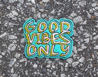 Good Vibes Only Sew on Iron on Patch DIY