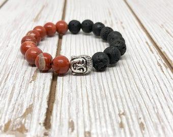 Diffuser Buddha Bracelet | Red Jasper Yoga Bracelet | Lava Stone Bracelet | Meditation Bracelet | Energy Bracelet | Oil Diffuser | Boho