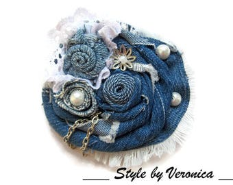 Denim brooch Jeans brooch Denim flower brooch Blue fabric brooch Jeans Jewelry Denim jewelry Big flower brooch scarf pin Denim pin brooch