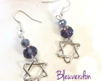 Star earrings and plum beads