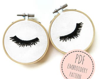 Embroidery Pattern- Lashess- PDF Embroidery Pattern- Digital Pattern- Hand Embroidery lashes- Modern embroidery- 3 inch hoop- lashes design