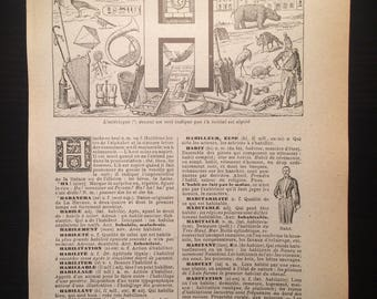 Letter H - Initial Print - Antique French Dictionary Page - Original 1940s Lithograph