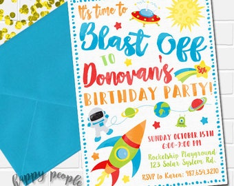 Outer Space Invitation, Rocket Invitation, Outer Space Invite, Rocket Ship Invite, Blast Off Invitation, Outer Space Birthday, Space Party