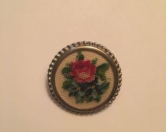 Petit point rose brooch