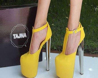 Yellow High Heel Platform Shoes