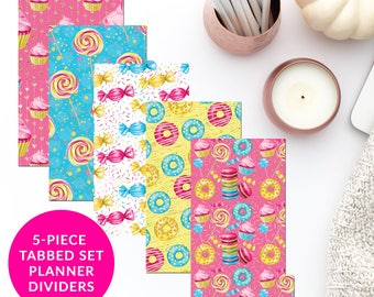 Sweet Tooth 5-Piece Tabbed Set of Planner Dividers for Personal A5 Planner Dashboard