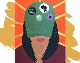 Woke Too (Black Lives Matter Feminism Black Woman Art)
