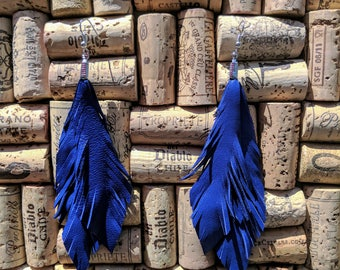 Leather Feather Earrings – Double Layer