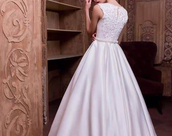 A-line Satin Wedding Dress