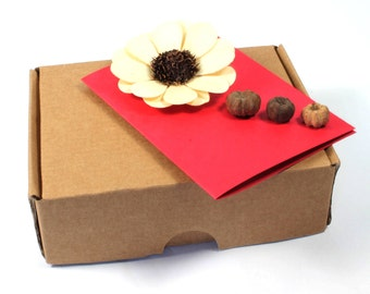 3D Handmade Card With Brown Box, Nature Flowers, White Flowers 3D Card, Floral Card, 3D Birthday Card, Mothers Day 3D Card, Wedding 3D Cards