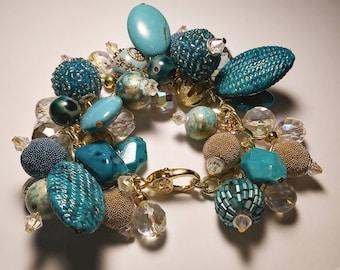 Ocean Blue Beaded Cluster Charm Bracelet