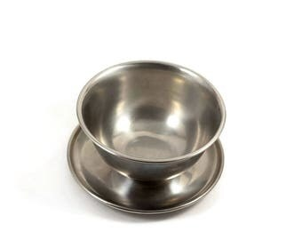 Vintage Stainless Steel Bowl with Attached Saucer 18/8 Rostfrei Inox, Candy Dish Nut Dish Trinket dish