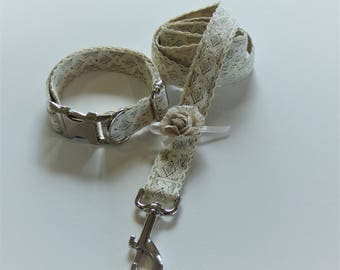 Vintage Ivory Lace Collar and Leash Set with Detachable Flower