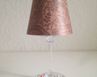 Black and Tan Paisley Design Wine Glass Lamp Shade