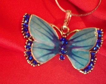 Enamel Crystal Butterfly Pendant Necklace with 925 Silver Chain