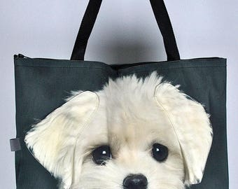 Maltese bag, Maltese tote, Maltese portrait bag, Maltese shoulder bag, dog lover bag, dog print bag, dog portrait bag, Maltese gift, 28