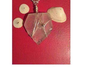 Large piece white seaglass wrapped necklace