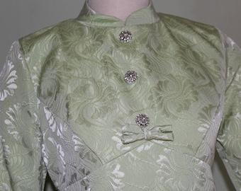 "M/L ,Mod brocade dress, vintage 1960's, rhinestone buttons, 34"" waist"