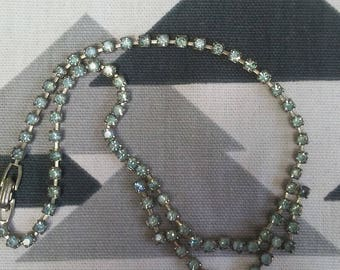Vintage Blue Rhinestone Necklace