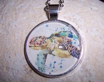 Sea Turtle Watercolor Pendant Necklace