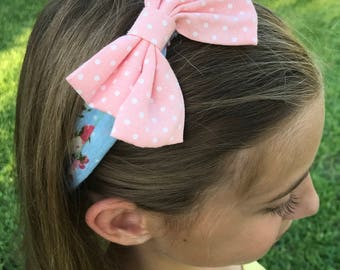 Floral Headwrap with Peach Bow White Polka Dots
