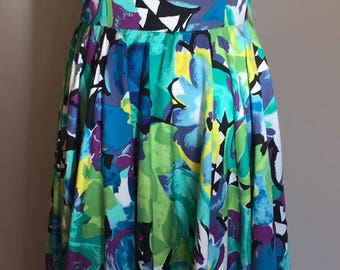 1980's  Vintage Teal Green/Blue/Purple/Yellow Floral Halter Dress/Full Skirt
