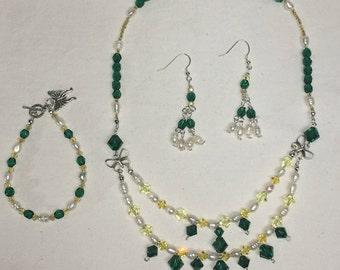 Green Beaded Swarovski Jewelry Set