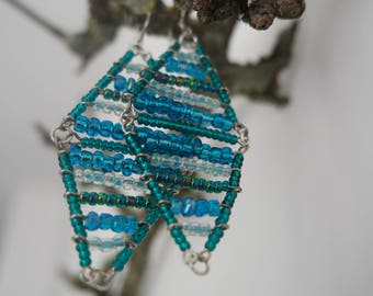 Ibiza earrings dubble triangle blue