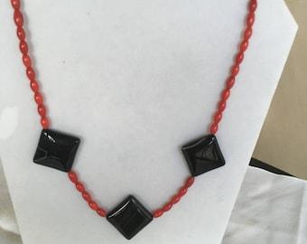 Elegant Coral and Jasper Necklace by Dobka