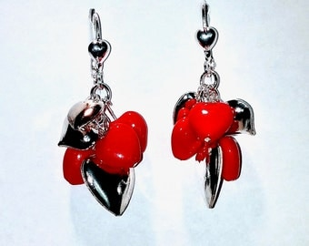 Silver and Red Glass Heart Earrings