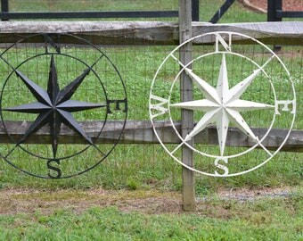 Metal Compass, Nautical Compass, Compass Star, Circular Star, Wall Decoration, Nautical Decoration