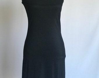Vintage 1990s One Shoulder Slinky Dress/ Little Black Dress/ Mini Dress/ Bodycon/ Stretch/ Made in USA